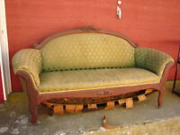 Walnut Empire Victorian Love Seat w/ Floral Carvings - For Restoration