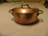 Vintage Gaillard copper stew pot 2.2 mm thick, made in France