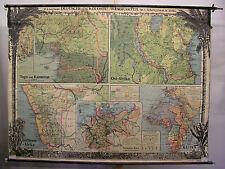 Schulwandkarte Deutsche Afrika-Kolonien 212x159cm  ~1910 vintage german wall map