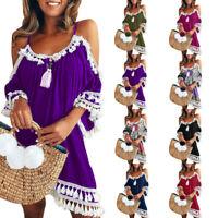 Women Off Shoulder Solid Dress Tassel Short Cocktail Party Beach Mini Sundress