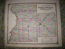 ANTIQUE 1875 MERCER HENDERSON WARREN KNOX COUNTY ILLINOIS HANDCOLORED MAP SUPERB