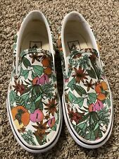 vans slip on womens 6 White And Floral Shoes