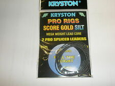 "Kryston 2 x 2pk Score Gold Silt Leadcore Spliced Leaders 33"" 60lb Fishing tackle"