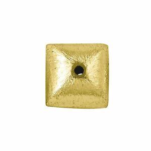 18K Gold Overlay Square Shape Brushed Bead BG-187