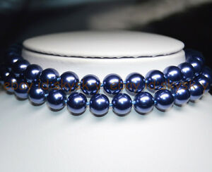 """BEAUTIFUL AAA++ 10mm DARK BLUE SOUTH SEA SHELL PEARL ROUND BEADS NECKLACE 25"""""""
