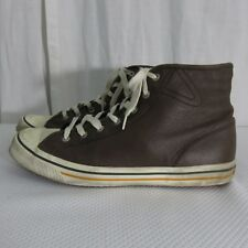 Tretorn 10.5 Brown Faux Leather Distressed High Top Sneakers Tennis Shoes