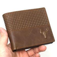 New Mens Brown Leather Wallet Bifold Full Zippered Coin Pocket Purse-MJ2842