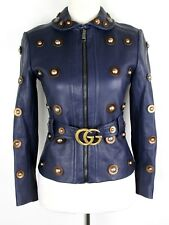 $5500 Gucci Women's Runway Navy Blue Grainy Leather Jacket IT 40 422595 4240