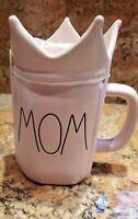 "Rae Dunn Rae Dunn ""Mom"" Pink  Ceramic Mug with Crown Topper."