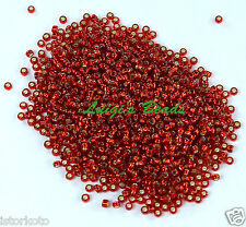 15/0 Round TOHO Japan Glass Seed Beads #25C-Silver-Lined Ruby 10 grams