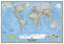 """National Geographic Laminated Classic World Wall Map Enlarged 69"""" x 48"""""""