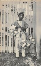 "BARBADOS ~ TINWARE VENDOR WITH HIS MERCHANDISE, ""PLIMMER'S STORES"" ~ c. 1904-14"