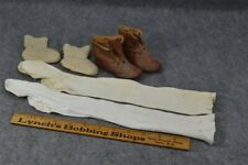 baby doll Victorian Edwardian stocking booties shoes lot cotton leather antique