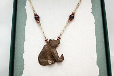 USA-Made Necklace/Earrings Set w/ Bronze Casting of Grizzly Bear by Cavin Richie