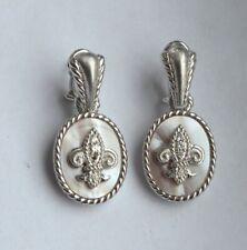 Judith Ripka Sterling Silver Earrings Mother of Pearl lot214845