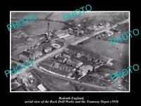 OLD LARGE HISTORIC PHOTO OF REDRUTH ENGLAND, RD WORKS  & TRAMWAY DEPOT c1930 1
