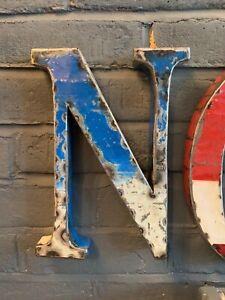 Recycled oil drum metal initial N blue 22 cm high Aged vintage