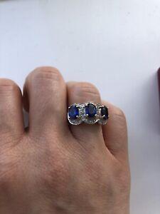 Diamond And Sapphire Trio 9ct Yellow Gold Ring Hallmarked