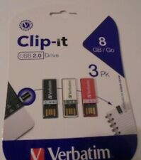 Verbatim 8 GB Clip-it USB Drives, 3 pk