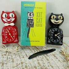 2 Original Red and Black Kit Cat Klock Electric Clock Retro Vtg Mid Century Box