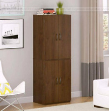 Pantry Storage Cabinet Spacious Two Adjustable Shelves Wood Composite Indoor NEW