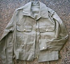 EX ARMY JACKET KHAKI COTTON DRILL  ZIP FRONT 35 & 36""