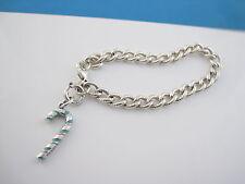 Tiffany & Co Silver Blue Enamel Candy Cane Charm Textured Bracelet Bangle