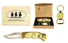 """""""Wyatt Earp"""" Legends of The Wild West Folding Knife with Keyring Bottle Open"""