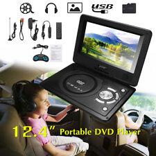 12.4'' Portable Car DVD Player Game Remote Control 270° Rotation Screen USB SD