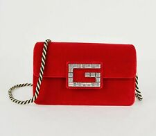 Gucci Broadway Red Velvet Black/Gold Rope Strap Crossbody Bag 544242 8791