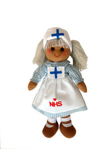Personalised Name Nurse NHS Key Worker Rag Doll 40cm Toy Baby  Gift Girl Unique