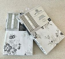 """Bee & Willow Clearwell Rod Pocket Curtains Farmhouse Gray Shabby Chic Floral 84"""""""