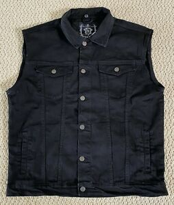 NWT Men's Nathan Denim Black Stretch Denim Button Down Jean Vest BIG SIZES L-3XL