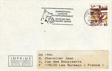 AA103 enveloppe thème CHIEN flamme Exposition canine internationale GENEVE 1988