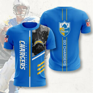 Los Angeles Chargers Men Casual T-shirts Short Sleeve Sportswear Top Tees S-5XL
