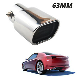 63mm Car Stainless Steel Square Muffler Exhaust Tail Pipe Tip Solid Universal
