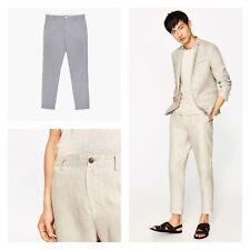 Mens Ex Zara 100% Cotton Cropped linen Fit Suit Summer party pants Trouser £29