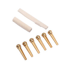 Brass Bridge Pins Cattle With Bone Saddle Nut Slotted Set for Acoustic Guitar