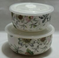 Grace's Teaware Spring Wildflowers Porcelain Microwaveable Bowls Set of Two New