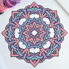 Cross Stitch Kit Knotty Mandala - Modern Design with 16 count Aida & DMC Threads