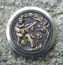 Antique Victorian Musician metal picture button.