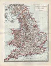Landkarte map 1905 ENGLAND UND WALES. Durham York Stafford Suffolk Devon Denbigh