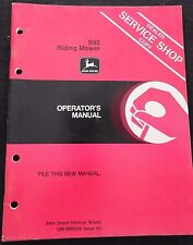 1984 JOHN DEERE S92 RIDING MOWER OPERATORS MANUAL VERY CLEAN