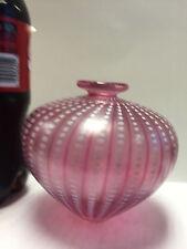 Kosta Boda Bertil Vallien PINK & White Iridescent Art Glass Vase 48466 - Signed