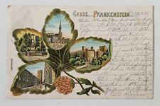 32533Ak Gruß de Frankenstein Schlesien Kleeblatt-Litho 1901 Ayuntamiento Turm