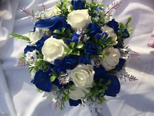 Wedding Posy Bouquet White Lavender,Royal Blue Calla & Ivory Roses with Berries