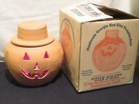 "VTG The Punk Craven's Georgia Red Clay Pumpkin Face Jack O Lantern 11"" w/ LIGHT"