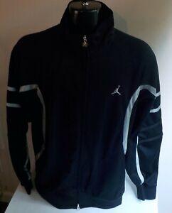 AIR JORDAN JUMPMAN Full Zip Track Jacket Black w/Silver Trim SZ XL
