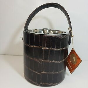 Tommy Bahama Ice Bucket Brown Croc Embossed Leather Handle Silver Dipped Chrome
