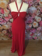 Red Halter Beaded Prom Gown Floaty Dress Bridesmaid Detail 16